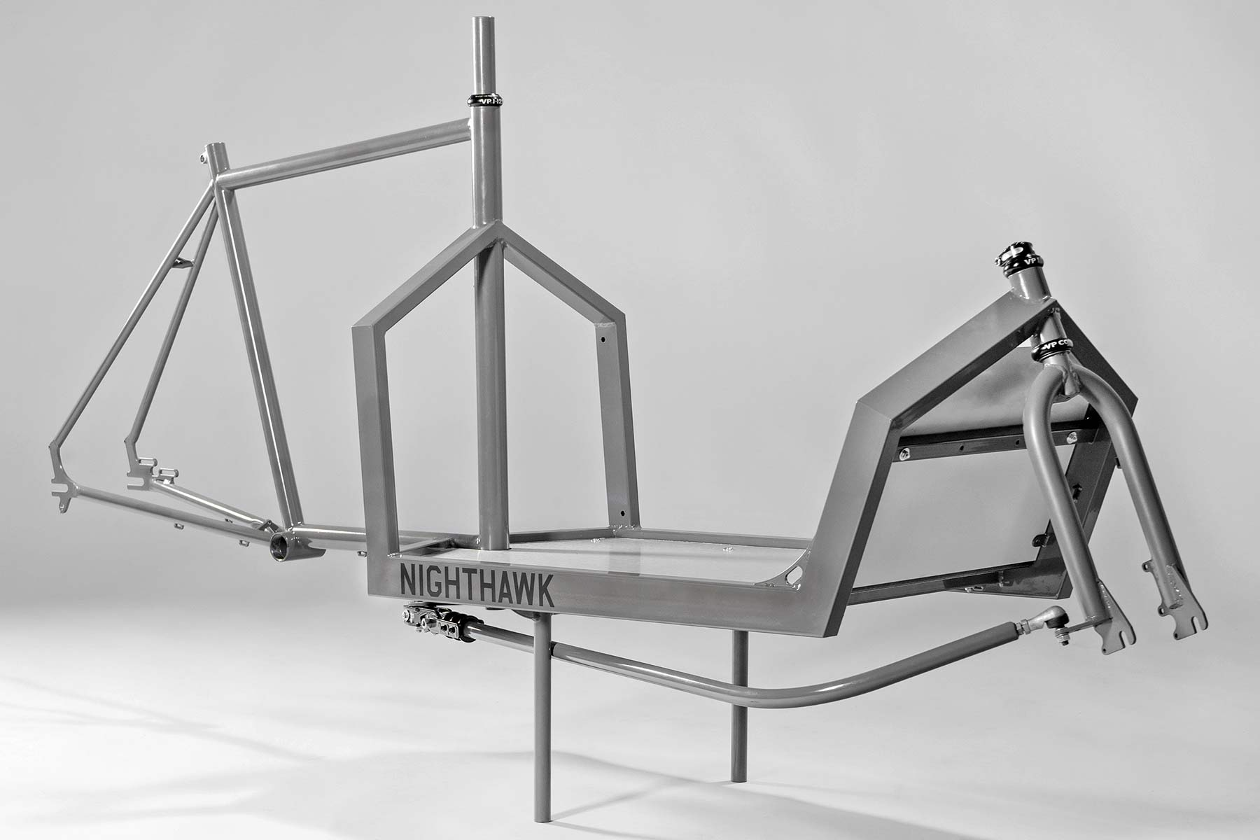 KP Cyclery Nighthawk steel cargo bike, affordable EU-made customizable long john cargo bikes,frame angled