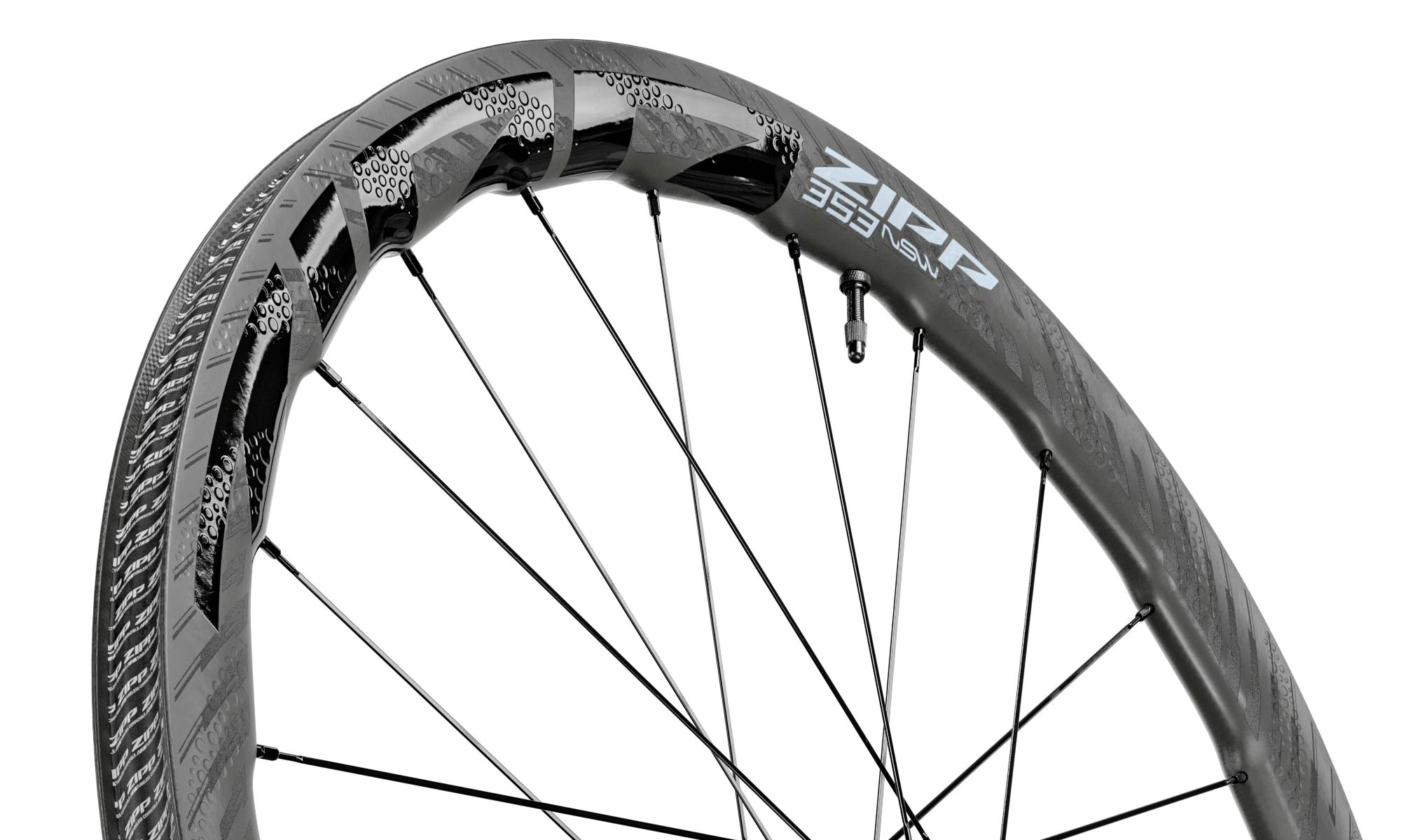 Zipp 353 NSW tubeless wheels, ultra-wide 25mm internal hookless tubeless carbon disc brake road bike wheelset, rim detail
