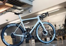 closeup details of finished enve carbon road bike from our factory tour