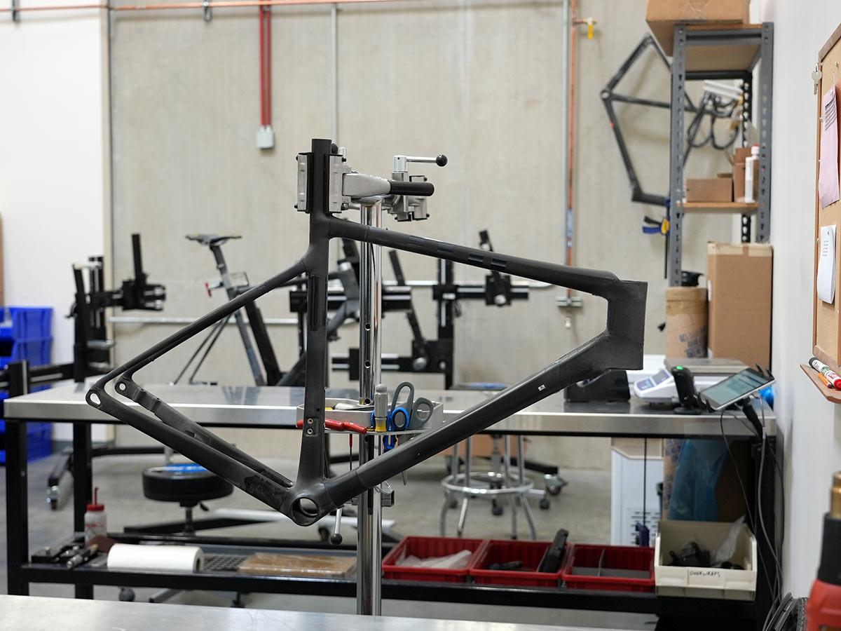 enve custom carbon road bike frame during final over wrap