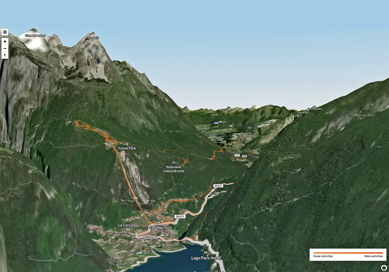 Strava 3D Heatmaps, strava premium subscription activity ride data 3D terrain map overlay,Andalo