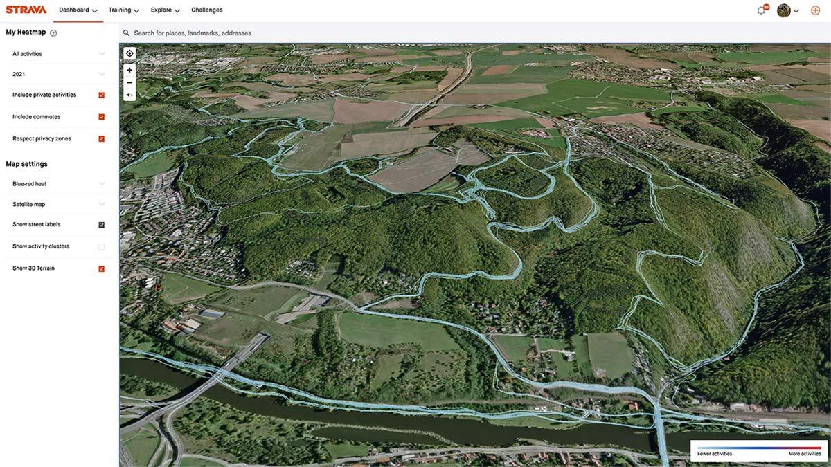 Strava 3D Heatmaps, strava premium subscription activity ride data 3D terrain map overlay,Singltrek pod Smrkem, Tocna