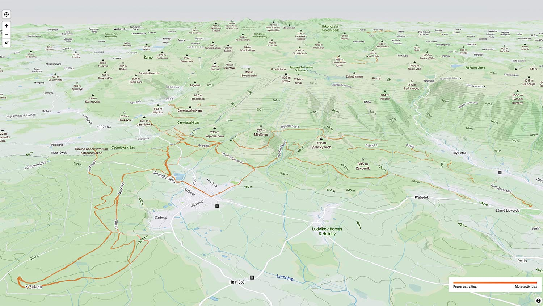 Strava 3D Heatmaps, strava premium subscription activity ride data 3D terrain map overlay,Singltrek pod Smrkem