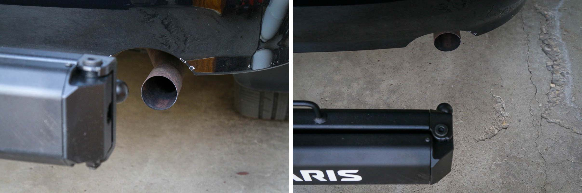 Saris Swing Away Hitch adapter exhaust clearance