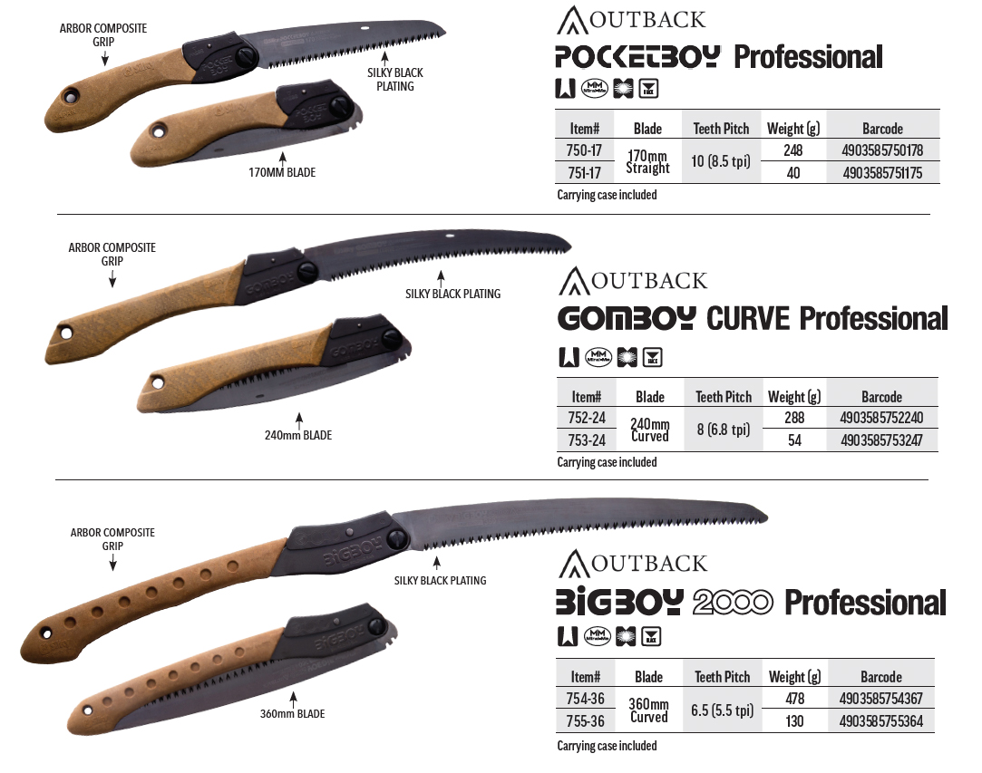 silky outback edition spec sheet for arbor composite handle portable folding saws