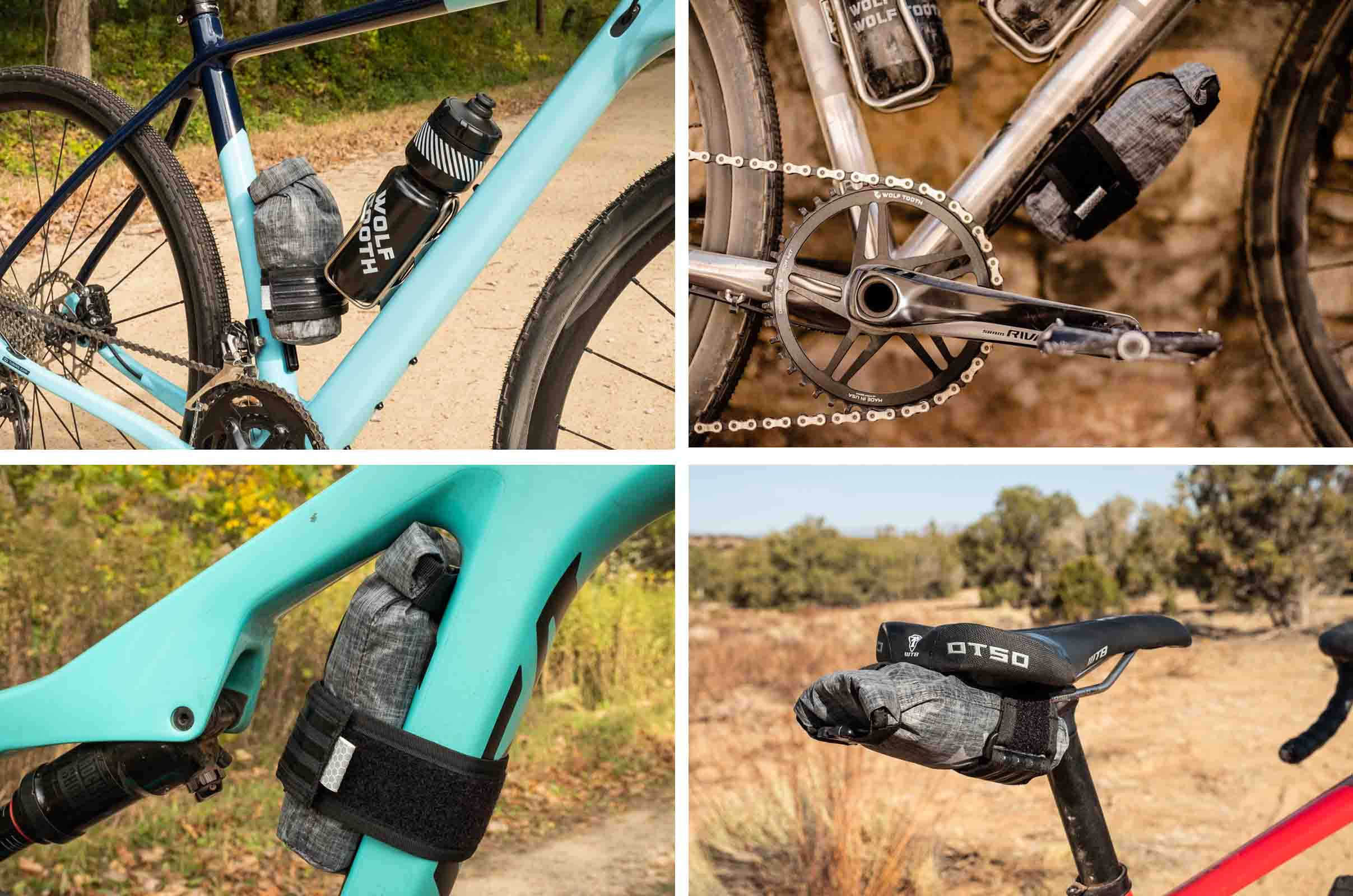 Wolf Tooth Components B-RAD TekLite roll-top accessory bags on bikes