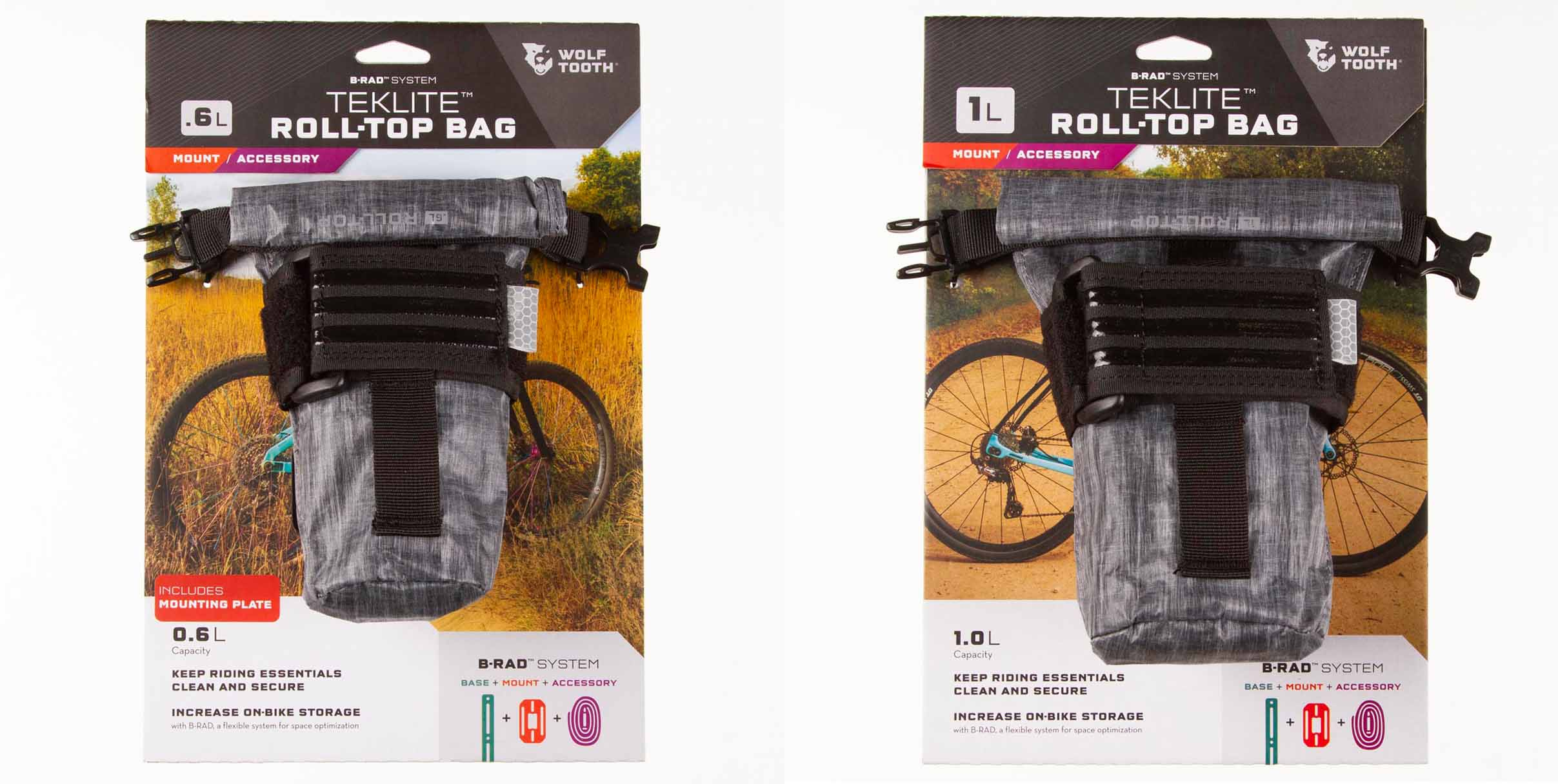 Wolf Tooth Components B-RAD TekLite roll-top accessory bags 1l 0.6l