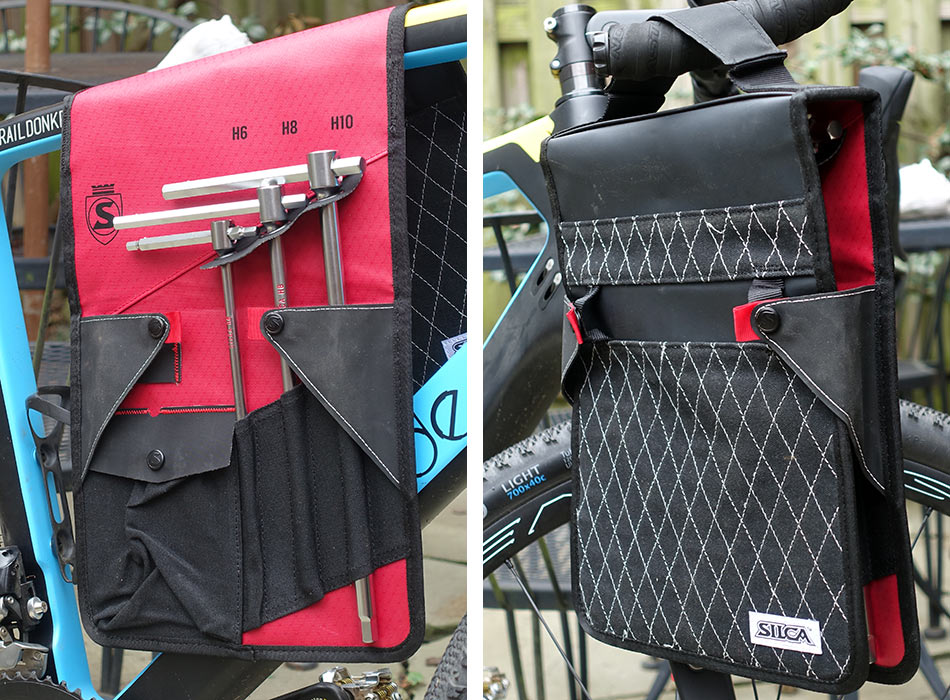 silca t-handle hex and torx wrench set shown in folio hanging on a bike