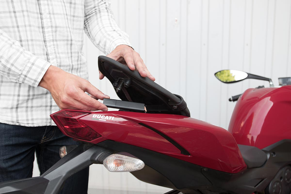 Invoxia Cellular GPS Tracker protects against theft helps recover stolen vehicles bikes