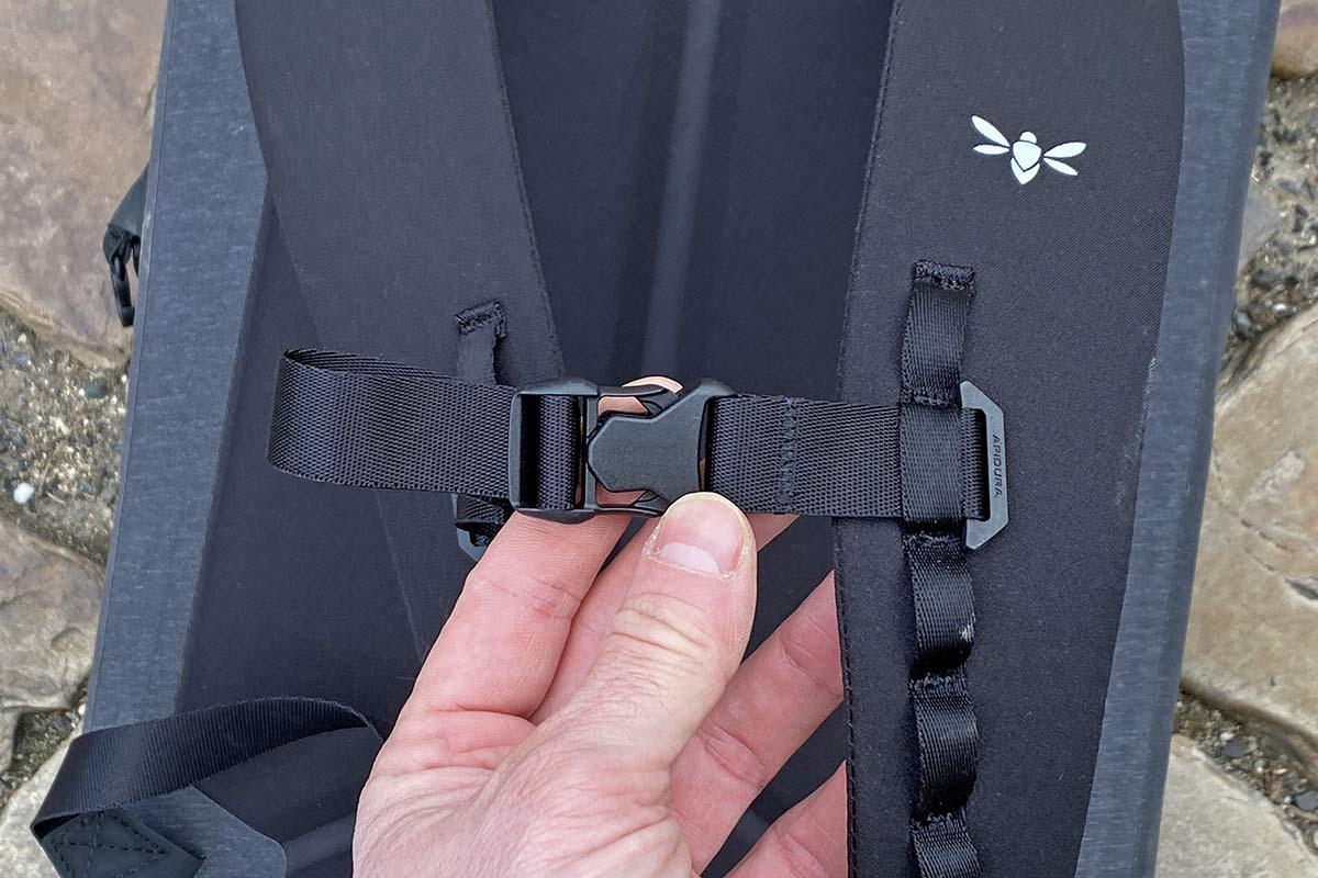 Apidura City Backpack, waterproof bikepacking tech in city commuter bag,clasp buckle detail