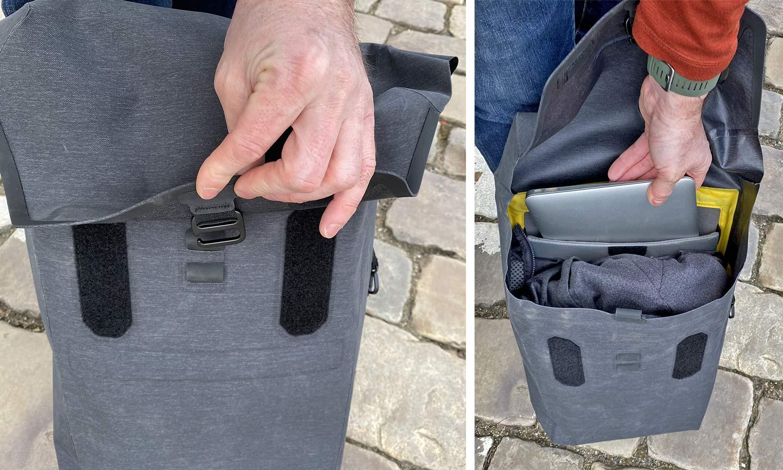 Apidura City Backpack, waterproof bikepacking tech in city commuter bag,inside