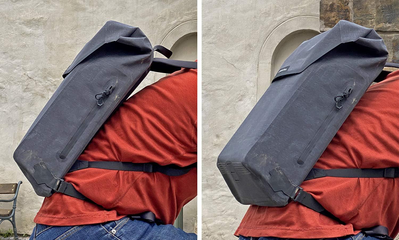 Apidura City Backpack, waterproof bikepacking tech in city commuter bag,on back details
