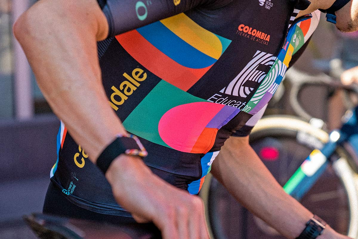 EF Pro Cycling colorful Rapha Euphoria switch-out kit at 2021 Giro d Italia,detail