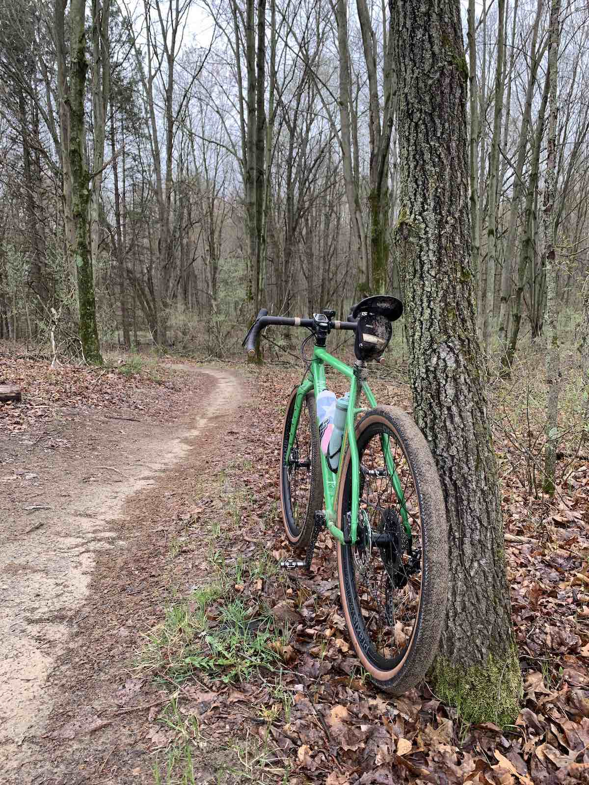 bikerumor pic of the day a green bicycle leans against a tree on a dirt trail in the woods. small leaves are beginning to show that spring is coming.
