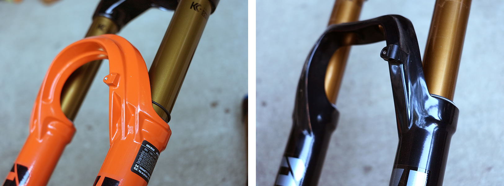detail photo showing feature comparison between new and old fox 34 mountain bike forks