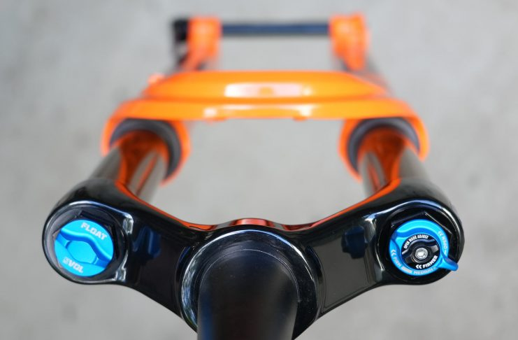 new fox 34 mountain bike fork shown from top down