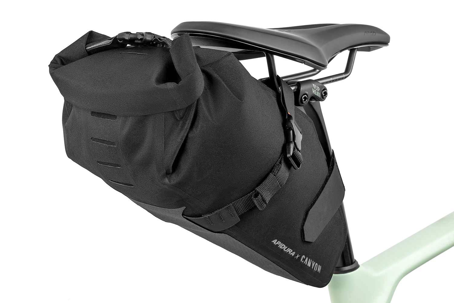 Apidura x Canyon Grizzly off-road adventure bikepacking bags for Grizl gravel bike,saddle pack detail