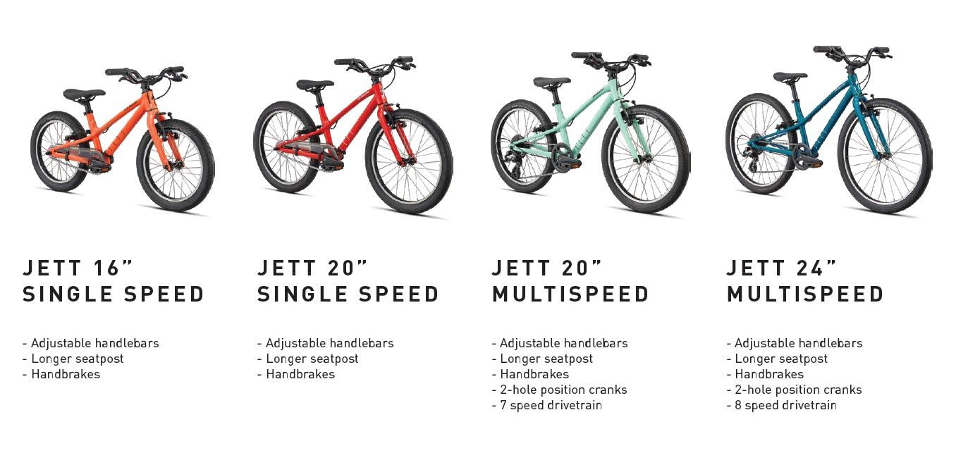 Specialized Jett kid's bike size range