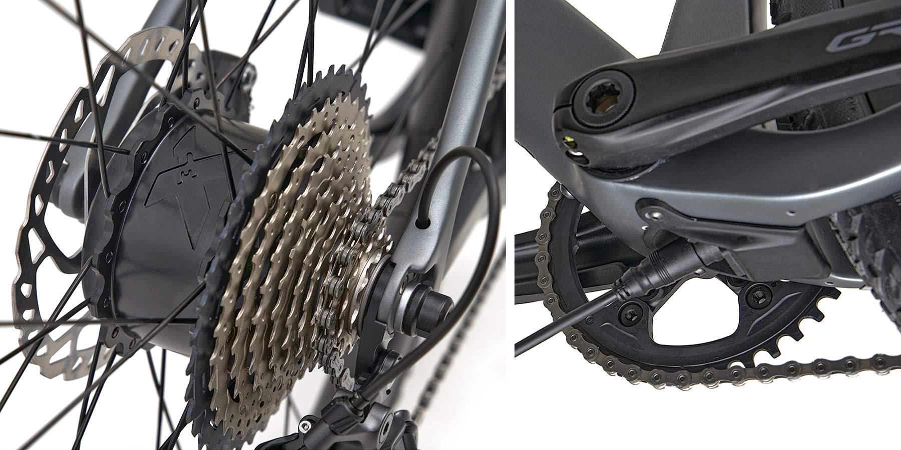 3T Exploro RaceMax Boost gravel e-bike, stealth ebikemotion X35 pedal-assist,details