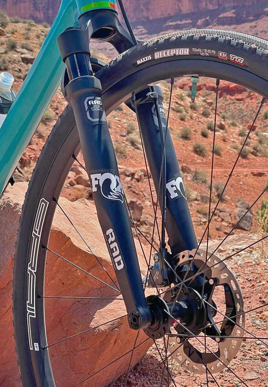 FOX RAD prototype gravel fork, reverse arch 30mm short-travel gravel bike suspension, courtesy Geoff Kabush, detail