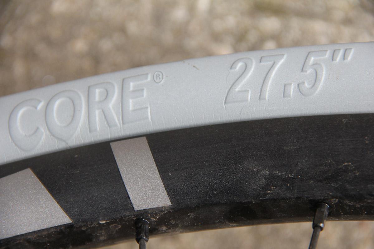 """cushcore pro 27.5"""" tire insert on nukeproof alloy rim enduro setup"""