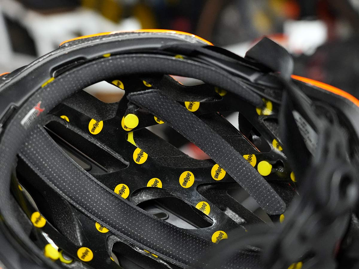 closeup of MIPS rotational impact layer inside a bicycle helmet