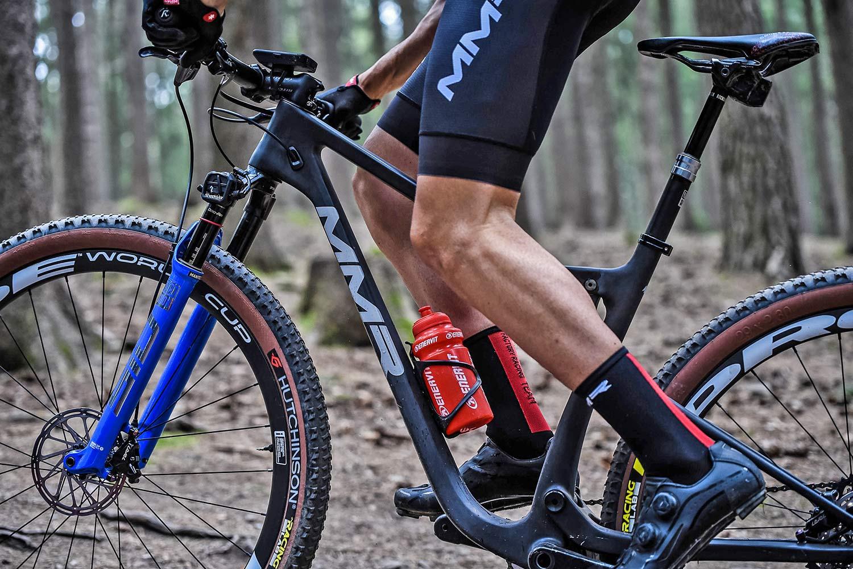 2021 MMR Kenta 29 prototype XC race bike, 100mm full-suspension carbon cross-country mountain bike, team MMR FRT training at Nove Mesto World Cup,suspension test