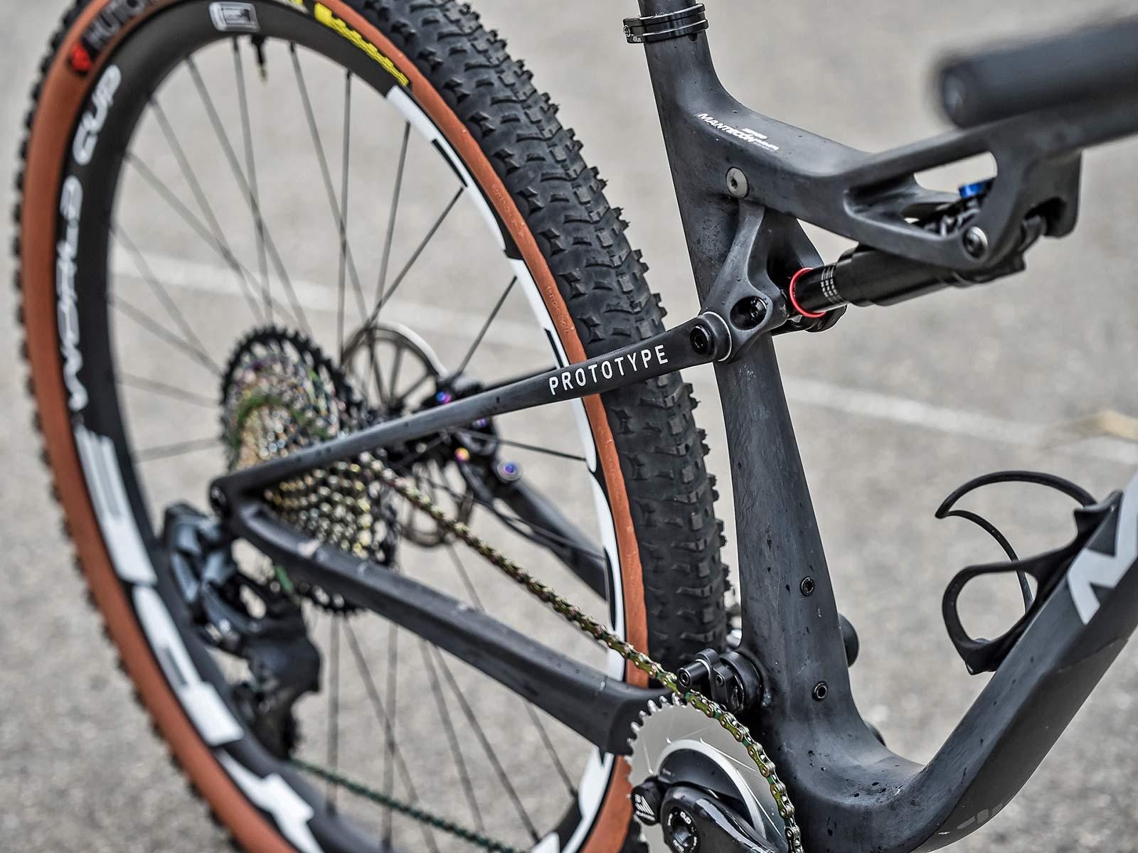 2021 MMR Kenta 29 prototype XC race bike, 100mm full-suspension carbon cross-country mountain bike, rear end