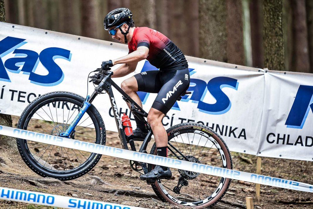 2021 MMR Kenta 29 prototype XC race bike, 100mm full-suspension carbon cross-country mountain bike, team MMR FRT training at Nove Mesto World Cup,
