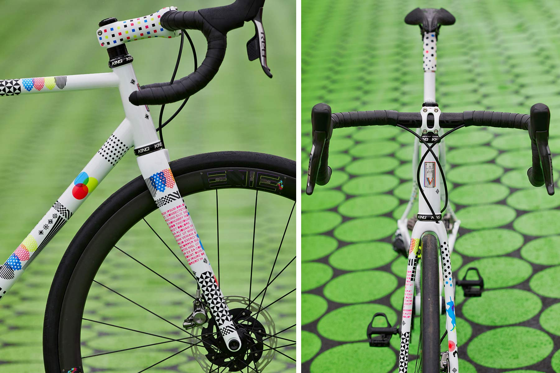 2021-2022 Speedvagen Surprise Me series, full-custom Vanilla workshop road bike with surprise paintjob inspired by printers proofs, The Painters Proof CMYK edition front end