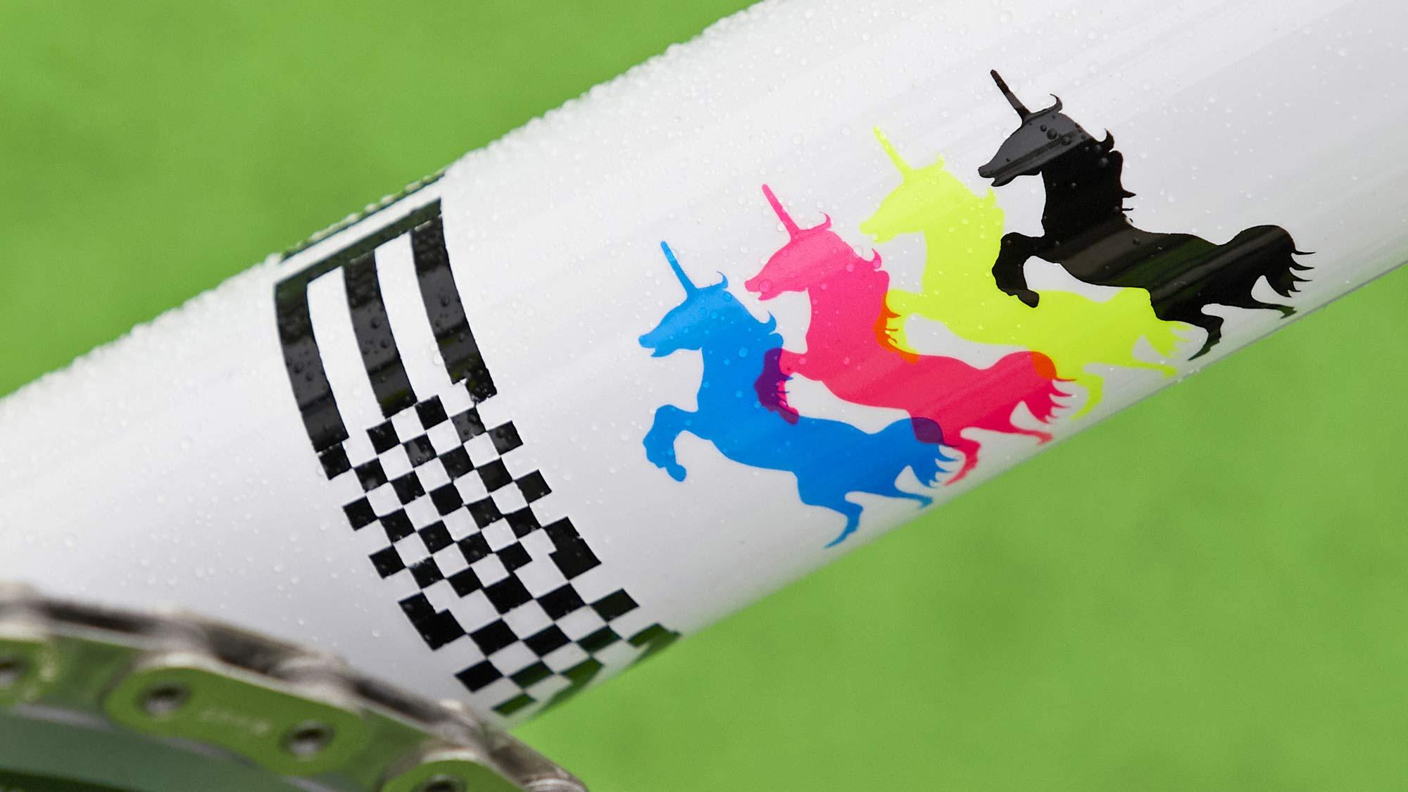 2021-2022 Speedvagen Surprise Me series, full-custom Vanilla workshop road bike with surprise paintjob inspired by printers proofs, The Painters Proof CMYK edition, dancing unicorns