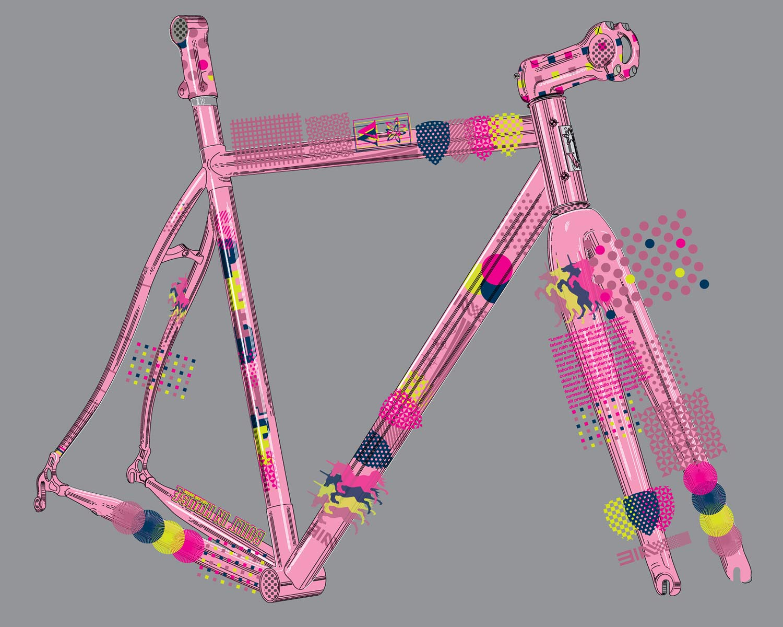 2021-2022 Speedvagen Surprise Me series, full-custom Vanilla workshop road bike with surprise paintjob inspired by printers proofs, in pink