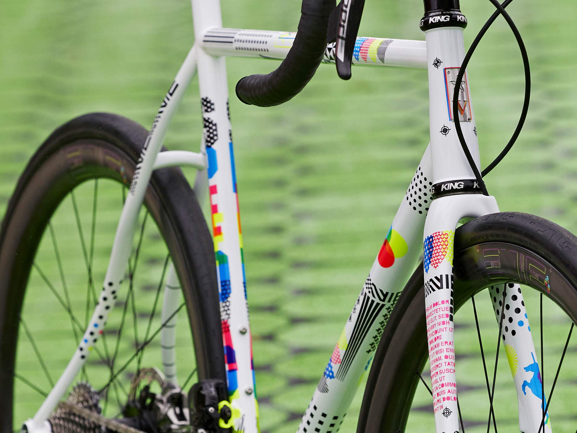 2021-2022 Speedvagen Surprise Me series, full-custom Vanilla workshop road bike with meticulous surprise paintjob inspired by printer's proofs, The Painters Proof CMYK edition