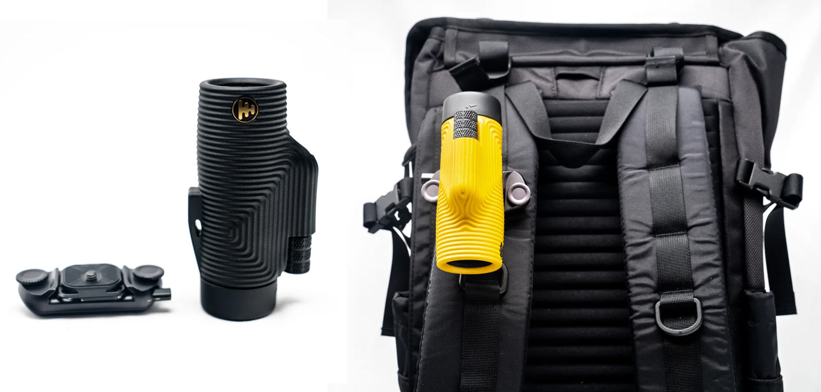 peak design backpack strap mount for nocs monocular and binoculars works the same as their camera mounting system