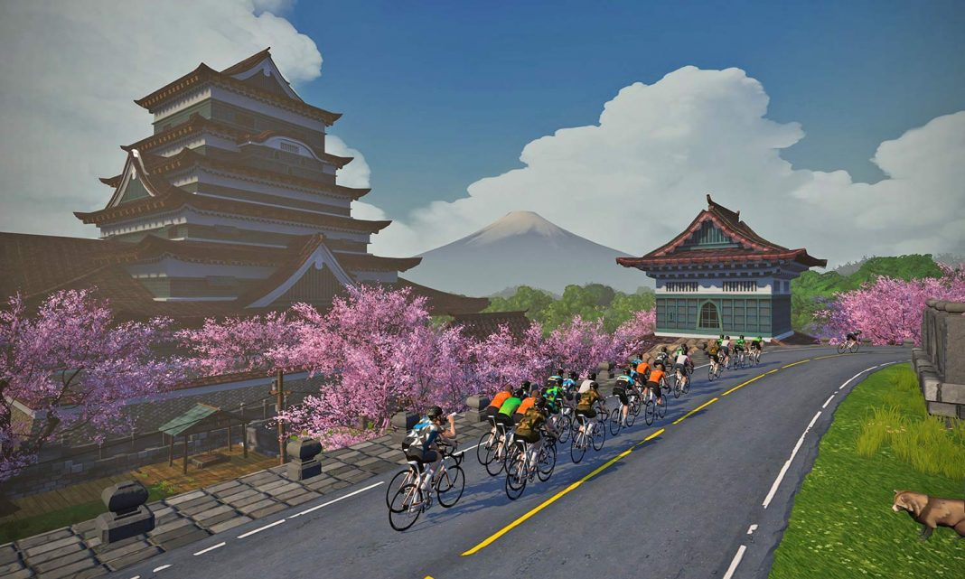 Zwift new Japanese-inspired Makuri Islands virtual fantasy world, indoor training on Yumezi map on and off-road
