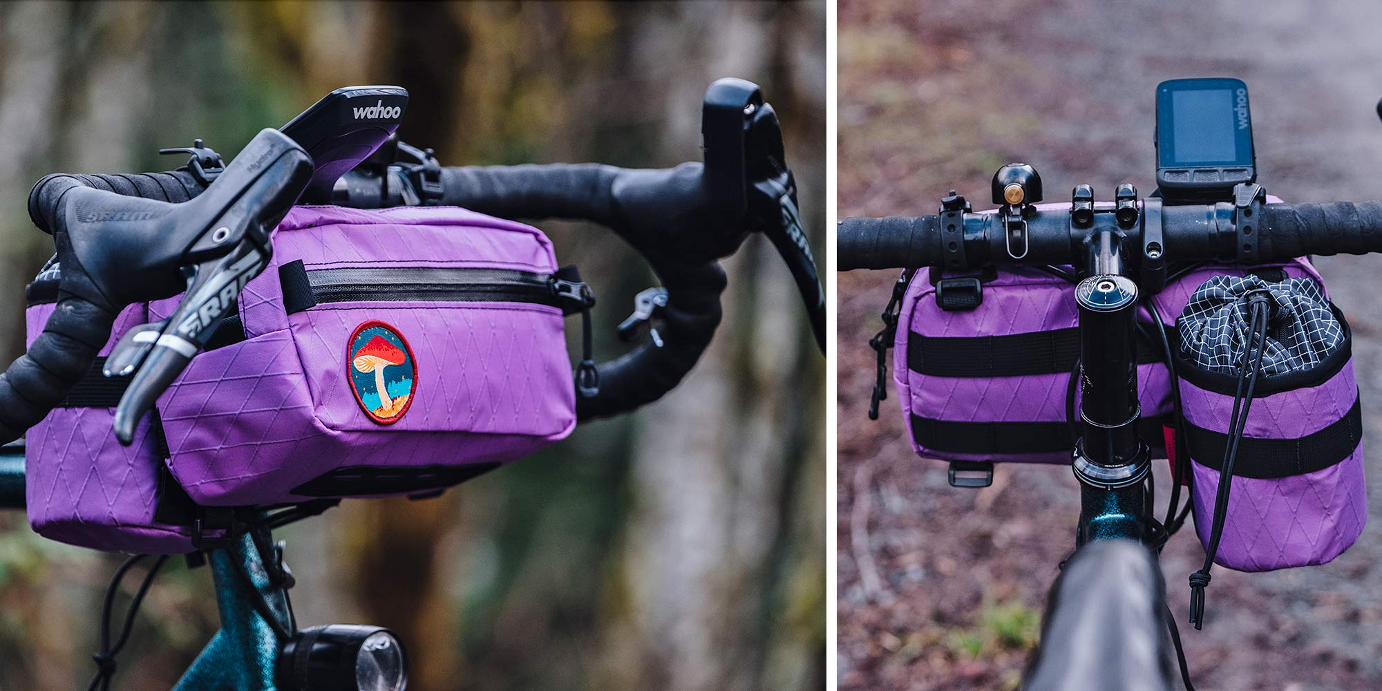 Swift Campout Kestrel bar bag & Sidekick in matching purple