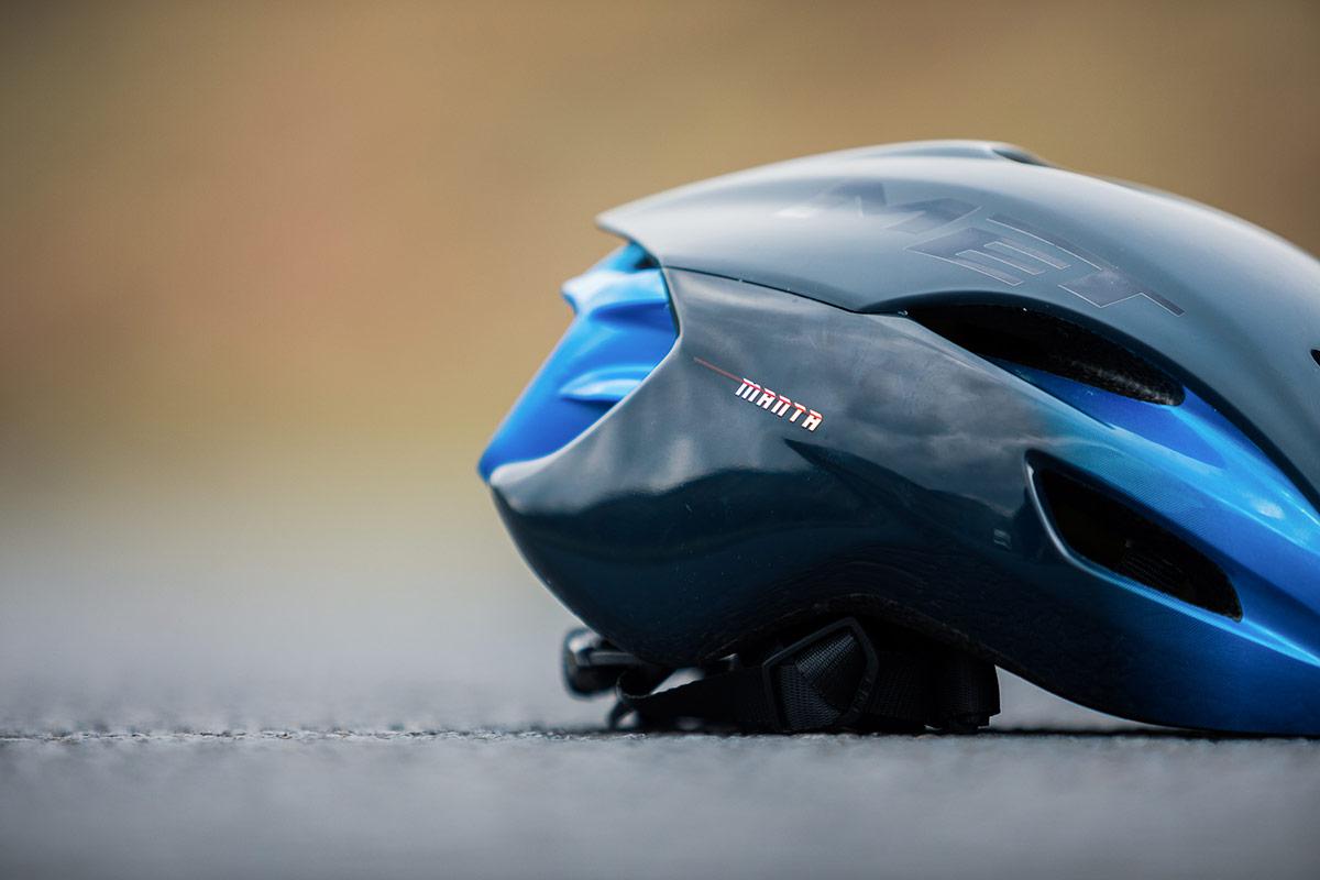 met manta mips aero road triathlon helmet rear profile
