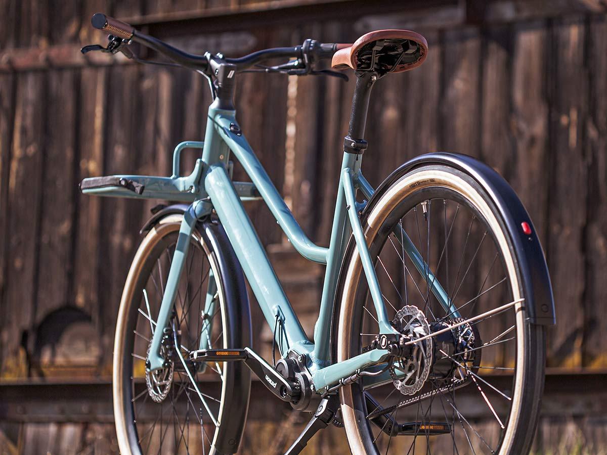 2021 Schindelhauer Emil Emilia porteur ebikemotion Pinion urban commuter city e-bikes,angled rear