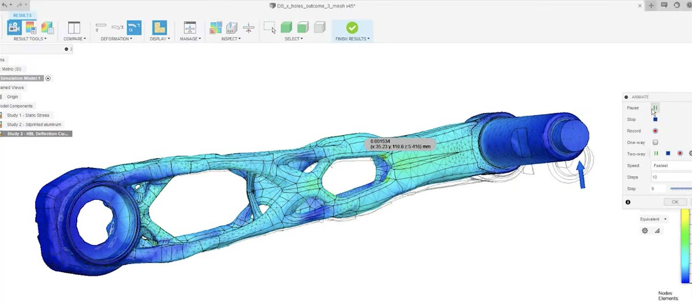 SRAM Autodesk Ai generative design prototype MTB cranks, machine-learning artificial intelligence development,3D model in Fusion 360