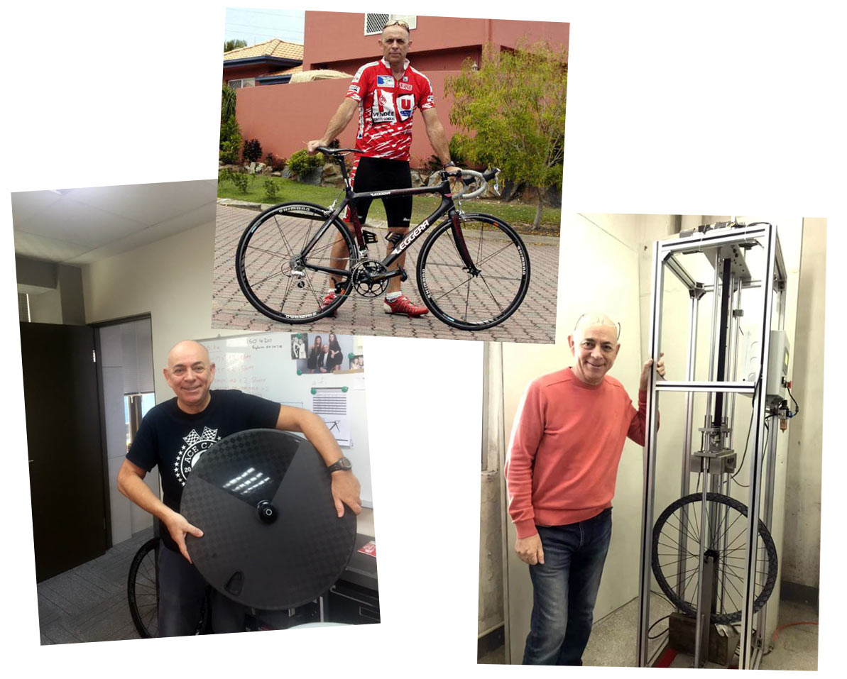 paul farrell interview and images showing prototype carbon fiber bike wheels being tested