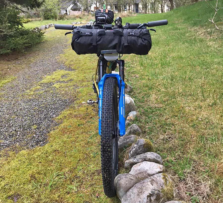 Mason RAW steel bikepacking mountain bike hardtail prototype UK-made, Josh Ibbett HT550,front end packed