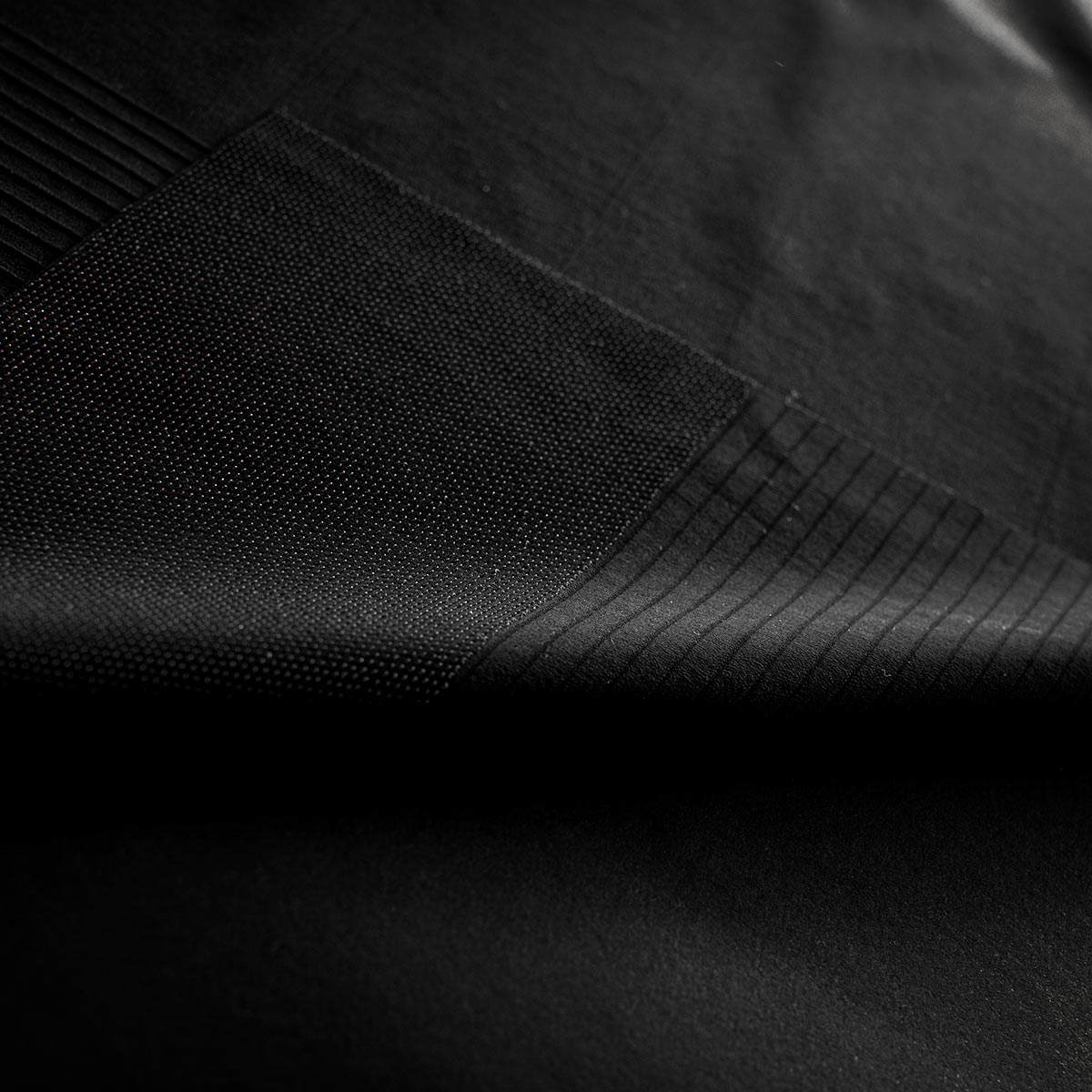 closeup of fabric panels and parts for new 2021 castelli premio black cycling shorts