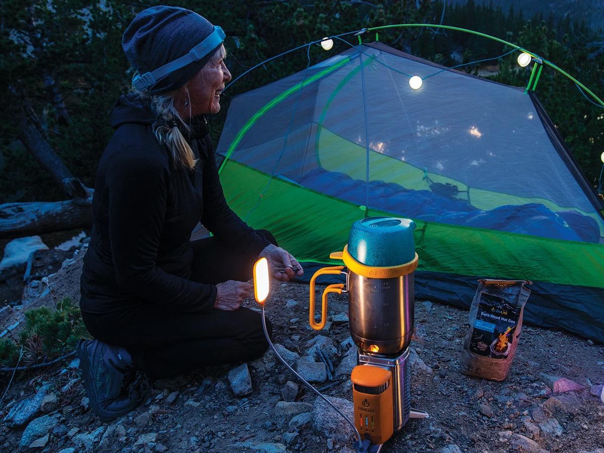 Camper Using BioLite Camp Stove