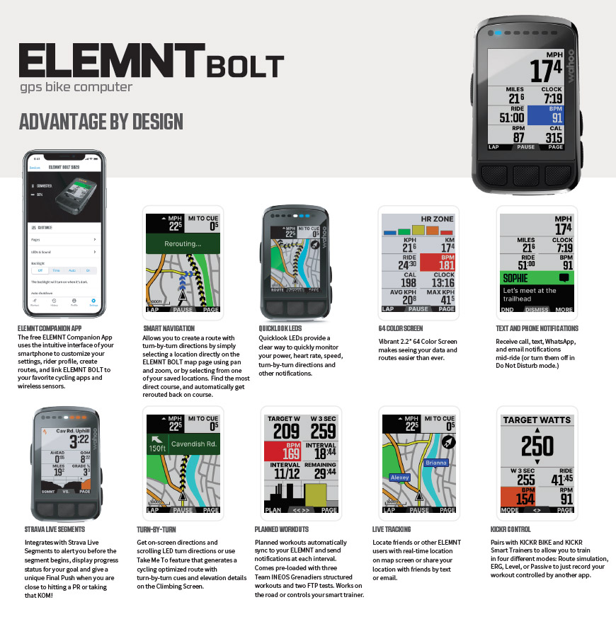 Wahoo ELEMNT BOLT GPS with color screen