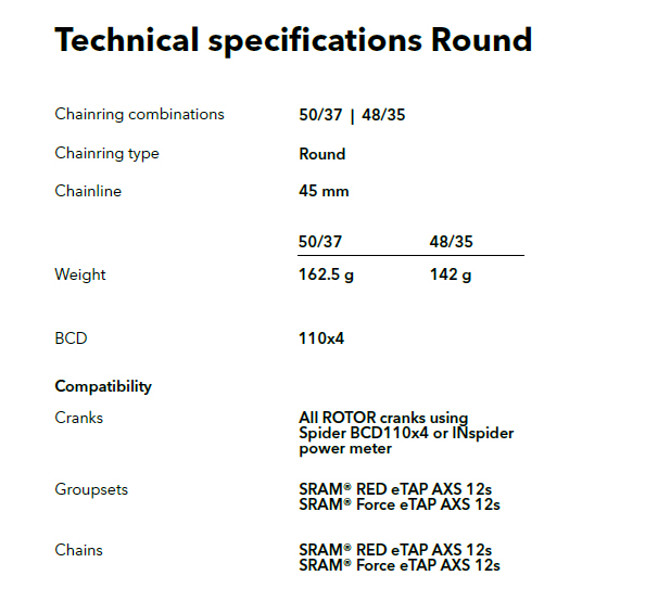 Round rings for Shimano GRX & SRAM AXS eTap cranksets