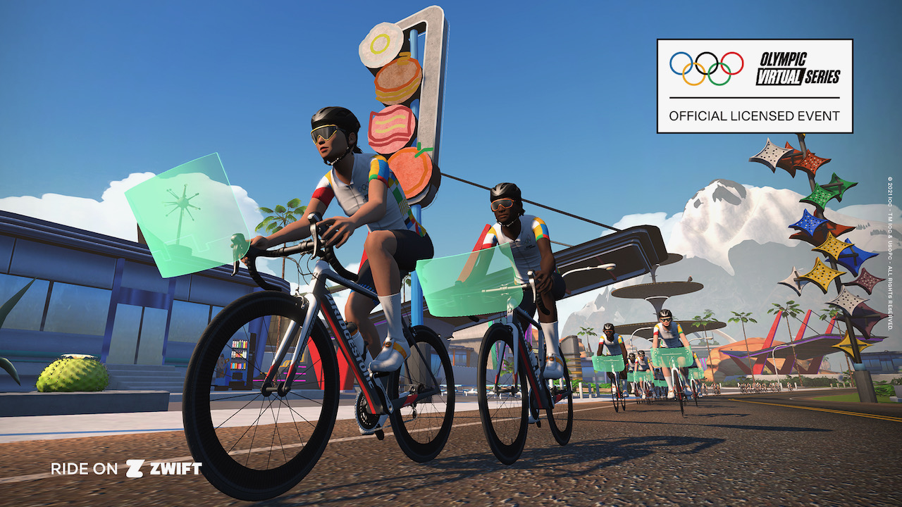 Riding in the Zwift Olympic series