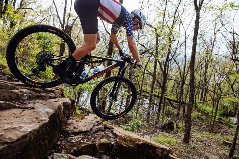 2022 santa cruz blur mountain bike racing action photo