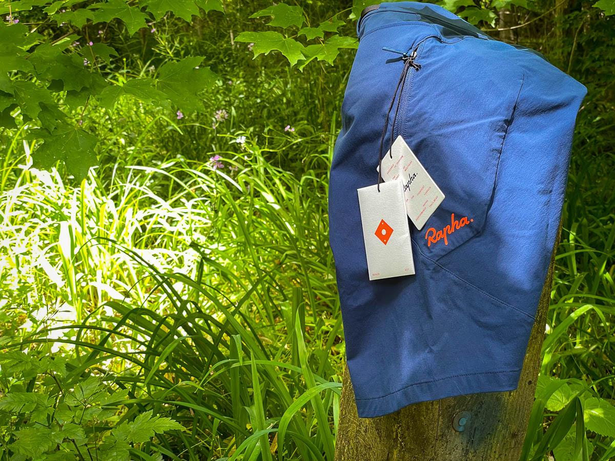 Rapha Performance Trailwear shorts on post