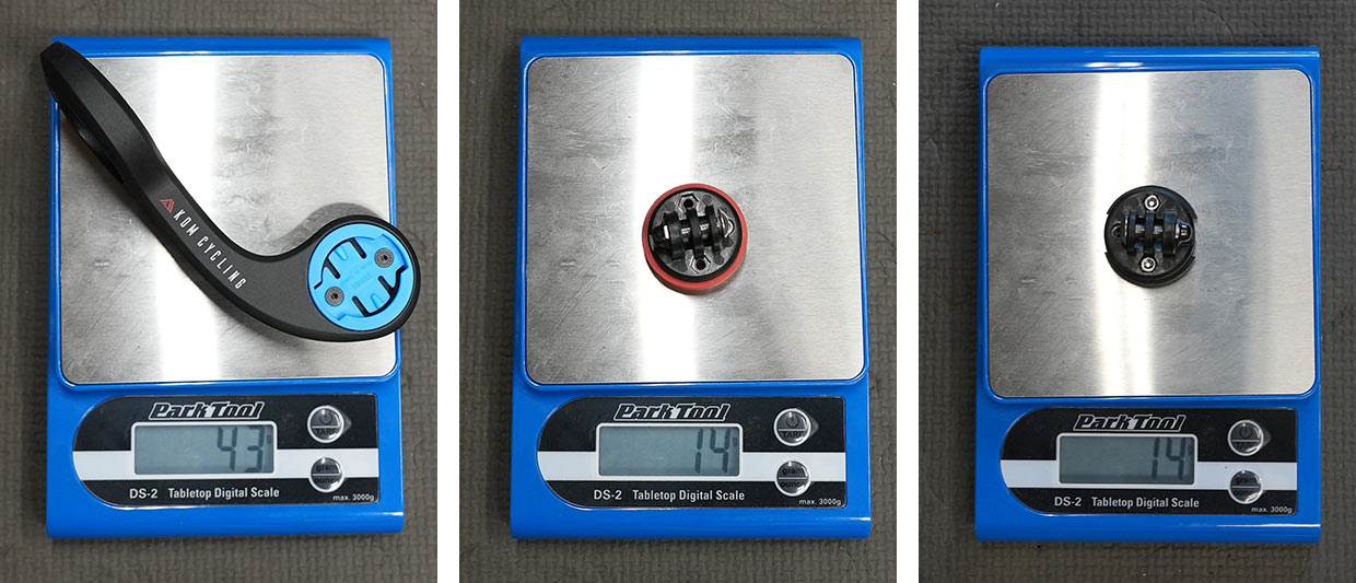 actual weights on a scale for KOM computer mount and gopro adapter mounts