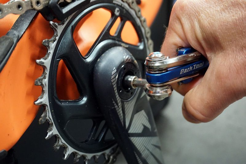 tightening a loose crank mid-ride with a multitool